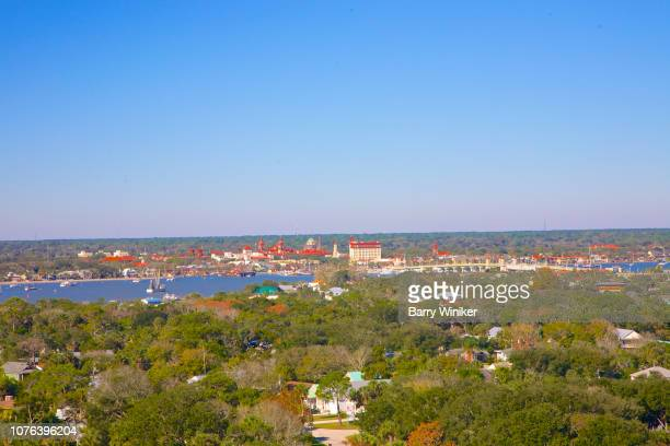 view from high up of trees and downtown st. augustine - st augustine lighthouse stock photos and pictures