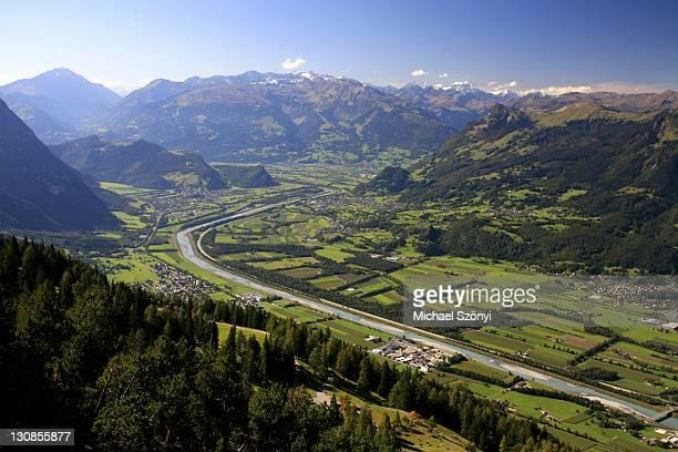 view from hiking trail to buchs, st. gall rhine river valley and toggenburg, st. gall, switzerland - tal stock-fotos und bilder