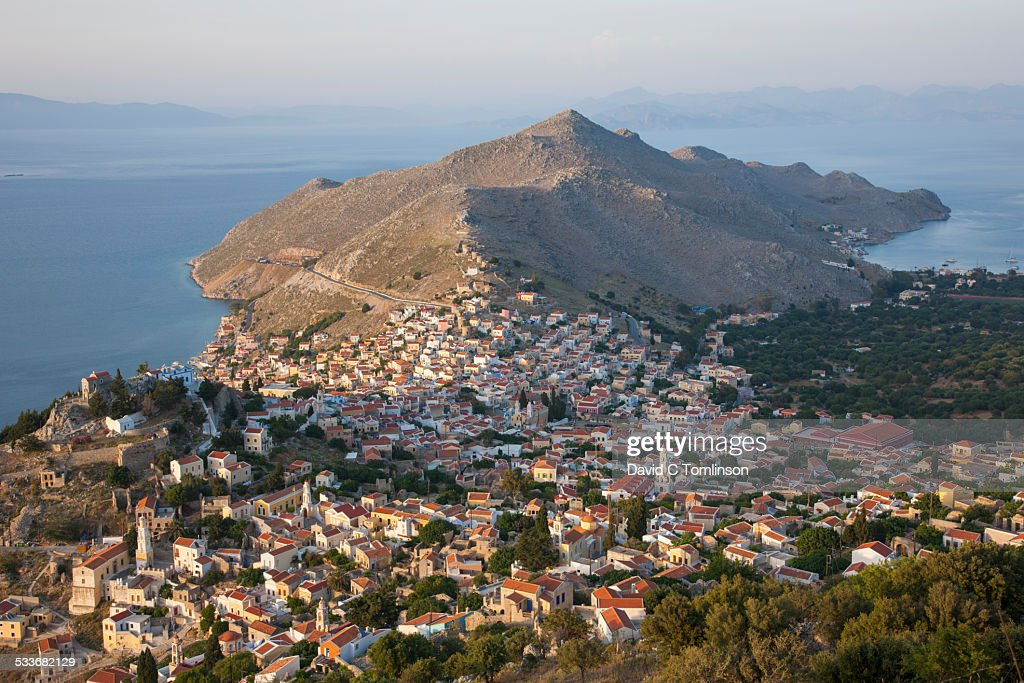 View from hillside at sunset, Horio, Symi, Greece : Foto stock