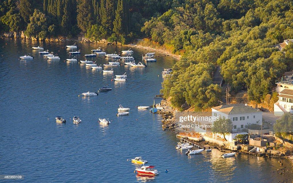 View from hillside, Kalami, Corfu, Greece : Stock Photo