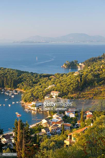 view from hillside, kalami, corfu, greece - corfu stock pictures, royalty-free photos & images
