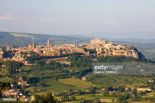 view from hillside, orvieto, umbria, italy - orvieto stock pictures, royalty-free photos & images