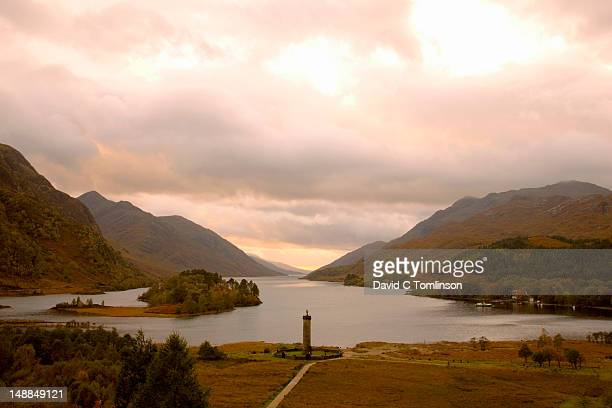 View from hillside to Glenfinnan Monument at head of Loch Shiel.