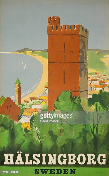 view from hilltop of medieval tower Halsingborg town and long costal beach ca 1950s