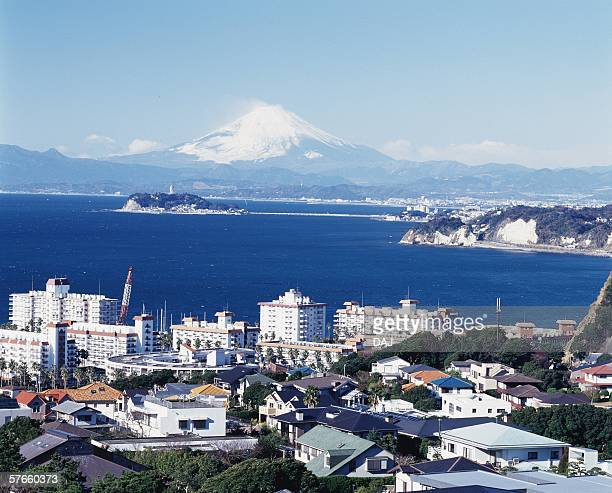 view from hiroyama park - zushi kanagawa stock photos and pictures