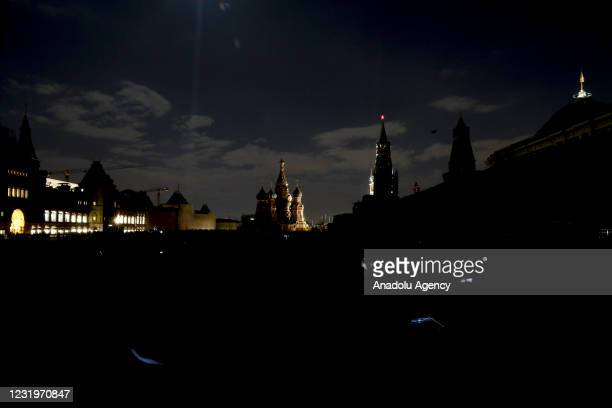 View from historical Red Square during Earth Hour environmental campaign for one hour, in Moscow, Russia on March 27, 2021. This is an annual...