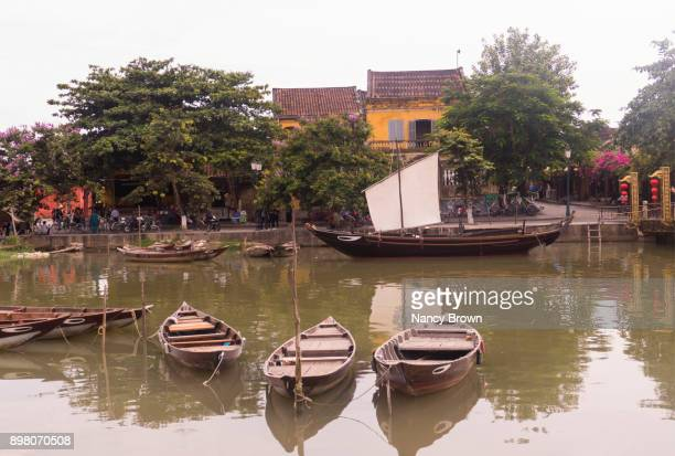 view from hoai river in ancient town of hoi an in vietnam a world hert. site - nancy green stock pictures, royalty-free photos & images