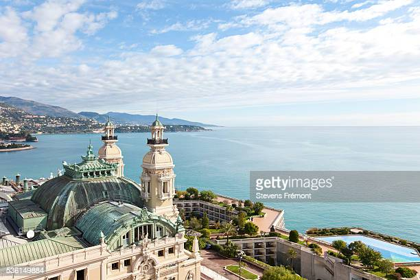 view from hotel de paris on salle garnier, casino, monaco, monte carlo - monte carlo stock pictures, royalty-free photos & images