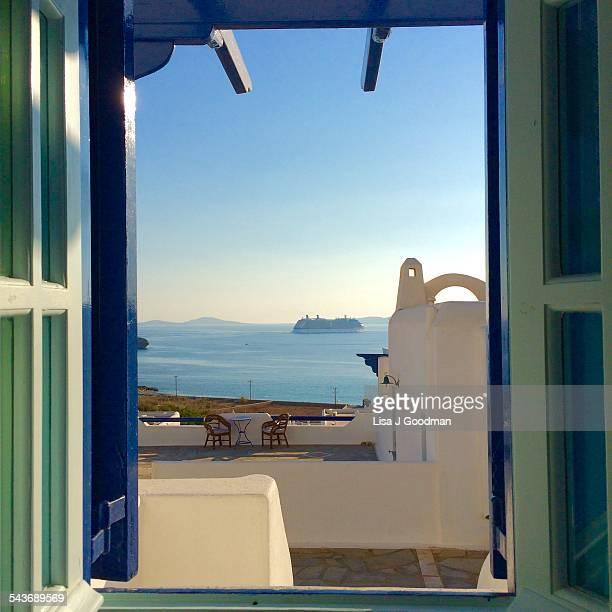 View From Hotel Room Window In Mykonos Greece