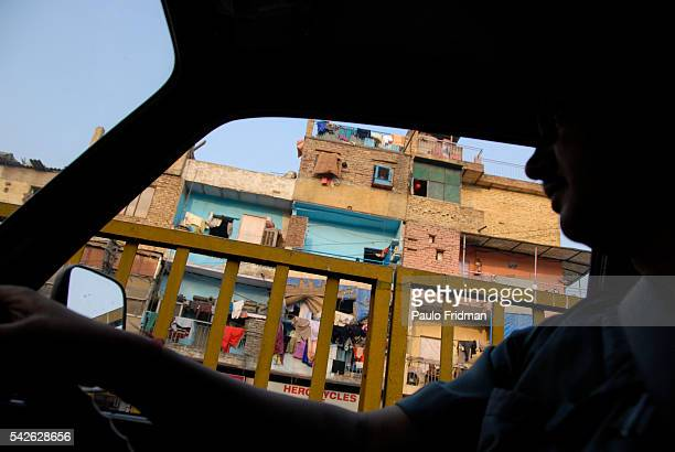 View from inside a taxi in Delhi India