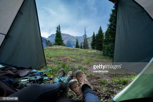 view from inside a tent while camping in san juan mountains - colorado stock pictures, royalty-free photos & images