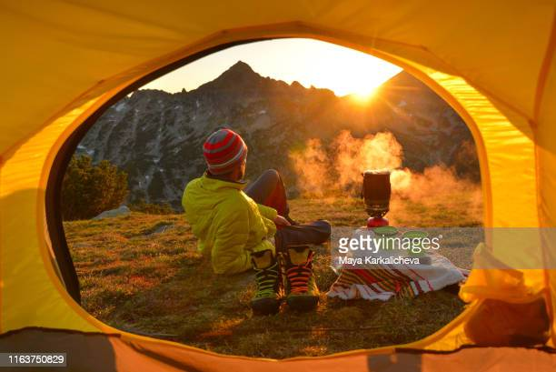 view from inside a tent while camping in summer mountain - bansko stock pictures, royalty-free photos & images