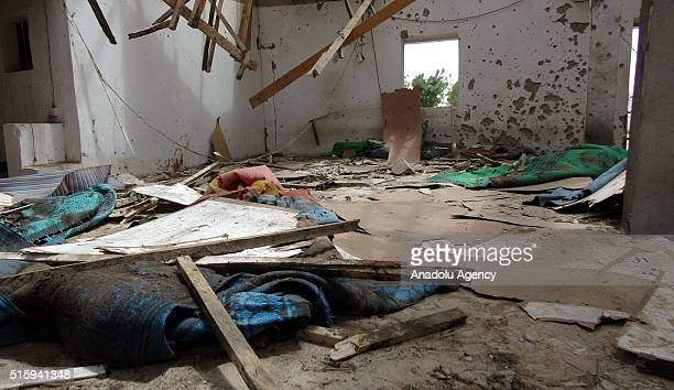 A view from inside of a mosque is seen after a suicide bomber attack in Maiduguri Nigeria on March 16 2016 Several people killed and wounded after...