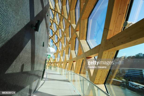 View from inside of La Seine Musicale which is positioned on an island in the Seine river to the west of Paris on the site of a former Renault car...