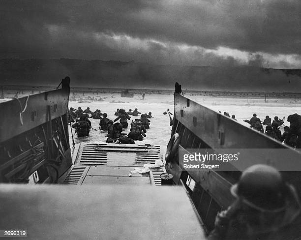 View from inside one of the landing craft after US troops hit the water during the Allied D-Day invasion of Normandy, France. The US troops on the...