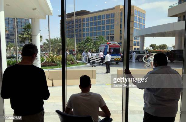 A view from inside the Crowne Plaza hotel which is on lockdown due to fears of the Corona Virus looking towards the hotel where cyclists from the UAE...