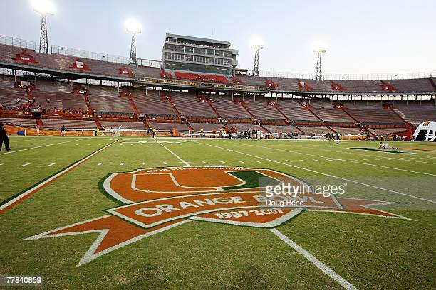 View from inside the stadium prior to the last college football game played in the Orange Bowl as the Virginia Cavaliers take on the Miami Hurricanes...