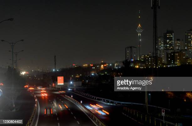 View from Iran's capital Tehran as partial power outages are being implemented, on January 26, 2021. After power outages in the country,...