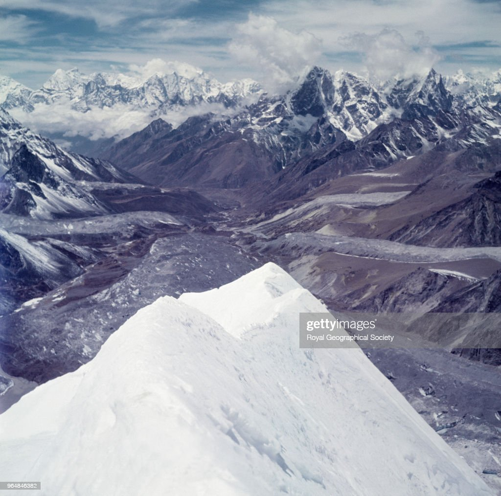View from Island Peak during the first ascent, Nepal, March 1953. Mount Everest Expedition 1953.