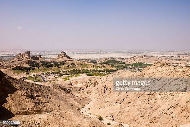 view from jebel hafeet mountain - claire plumridge stock pictures, royalty-free photos & images