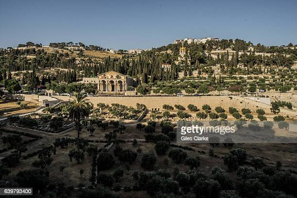 A view from Jerusalem old city toward the Garden of Gethsemane at the foot of the Mount of Olives Most famous as the place where Jesus prayed and his...