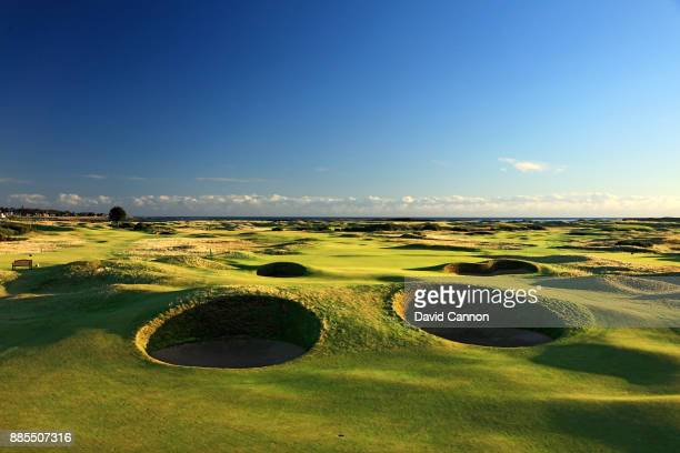 A view from just short of the 'Spectacles Bunkers' on the par 5 14th hole 'Spectacles' on the Championship Links at Carnoustie Golf Links the host...