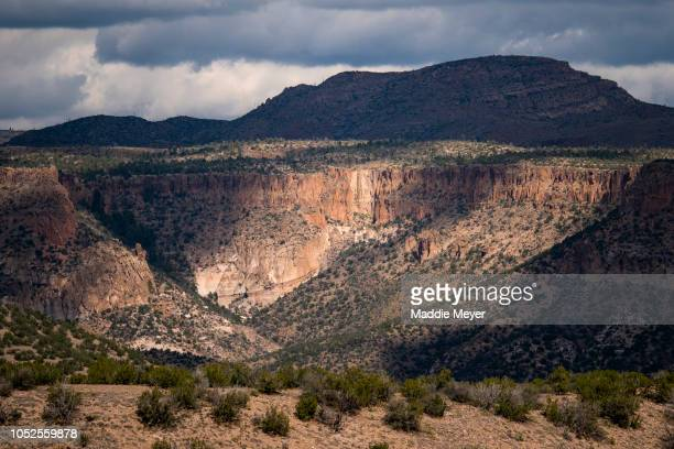 A view from KashaKatuwe Tent Rocks National Monument on October 10 2018 in Cochiti Pueblo New Mexico The park is home to unique tent shaped rocks...