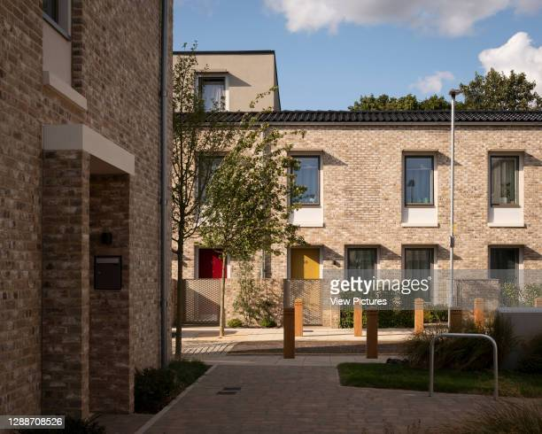 View from landscaped courtyard. Goldsmith Street, Norwich, United Kingdom. Architect: Mikhail Riches, 2019.