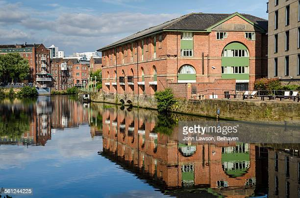 View from Leeds bridge along the river Aire