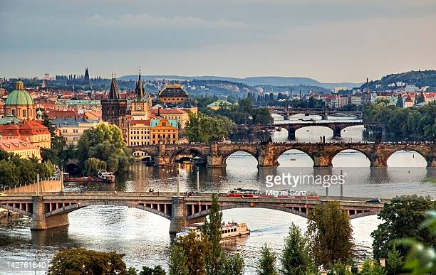view from letna to prague city - charles bridge stock photos and pictures