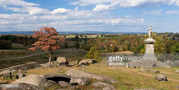 view from little round top at gettysburg - gettysburg stock photos and pictures