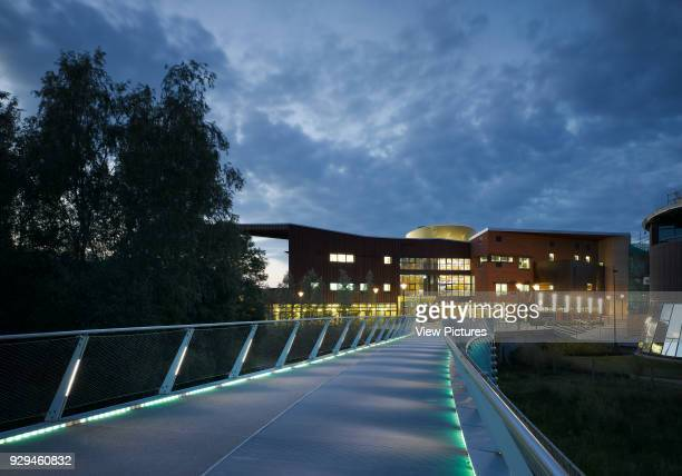 VIew from Living Bridge at dusk showing building in context Irish World Academy of Music and Dance Limerick Ireland Architect Daniel Cordier 2010