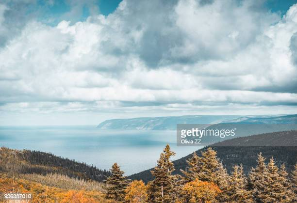 view from mackenzie mountain look-off of the gulf of st. lawrence, cape breton highlands national park, nova scotia, canada - nova scotia stock pictures, royalty-free photos & images