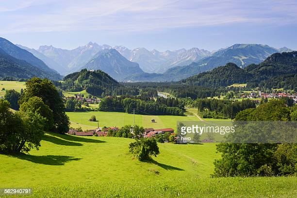 View from Malerwinkel on the valley of the Iller, behind Oberstdorf and the Alps, Hinang, Upper Oberallgau district, Bavaria, Germany