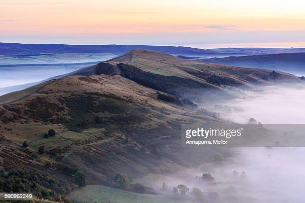 view from mam tor at sunrise - ridge stock pictures, royalty-free photos & images