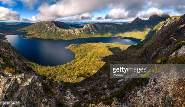 View from Marions Lookout to Dove Lake and Cradle Mountain. Overland track, Tasmania