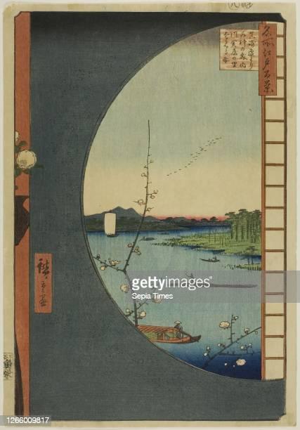View from Massaki of Suijin Shrine. Uchigawa Inlet. And Sekiya . From the series One Hundred Famous Views of Edo . 1857. Utagawa Hiroshige ....