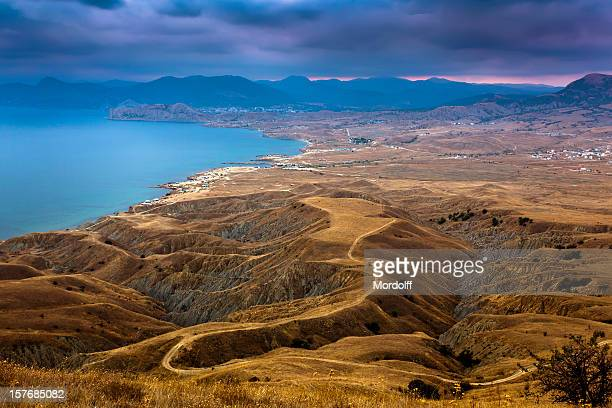 view from meganom cape before the storm - crimea stock pictures, royalty-free photos & images