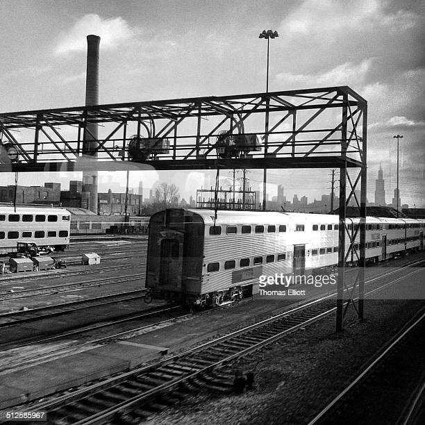 View from METRA commuter train Rail yard near downtown Chicago