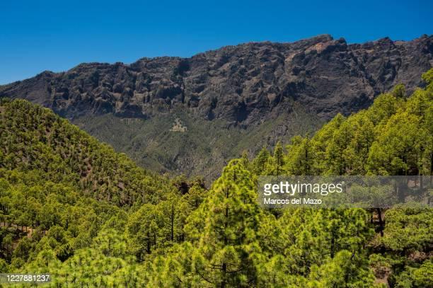 View from Mirador de los Roques in Caldera de Taburiente National Park with a massive shield volcano of 20 km in diameter.