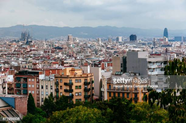 View from Montjuic Hill towards Sagrada Familia church and Torre Glòries