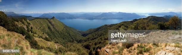 View from Morissolino to Lago Maggiore, left peak of Cima di Morissolo, Panorama, Cannero Riviera, Verbano-Cusio-Ossola province, Piedmont region, Italy