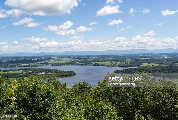A view from Mount Defiance overlooks Fort Ticonderoga center left August 2 2013 of Lake Champlain separating New York with Vermont The large...