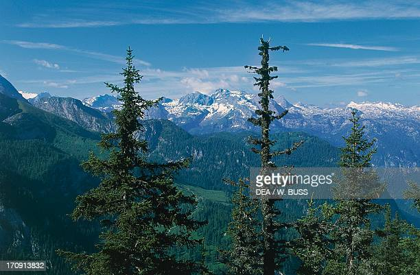 View from Mount Jenner Berchtesgaden National Park Bavaria Germany