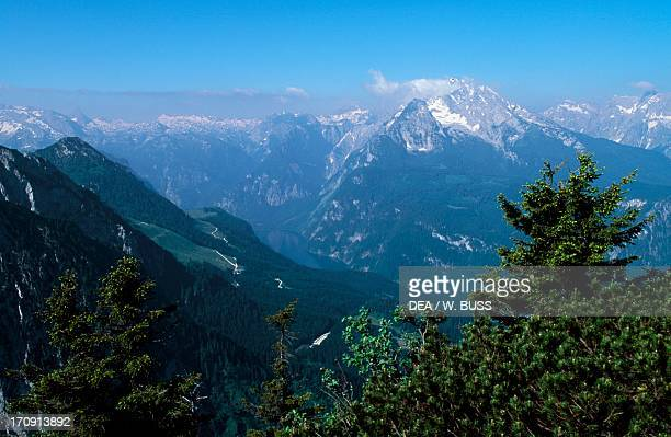 View from Mount Kehlstein Berchtesgaden National Park Bavaria Germany