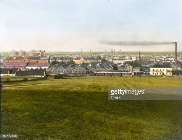 View from Mount Laaerberg to Simmering and the Viennese electric utility. Vienna, 11th district. Hand-colored lantern slide. Around 1910.
