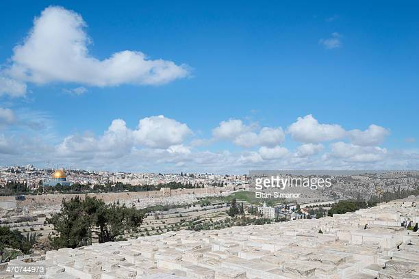 view from mount of olives jewish cemetery. israel. - mount of olives stock photos and pictures