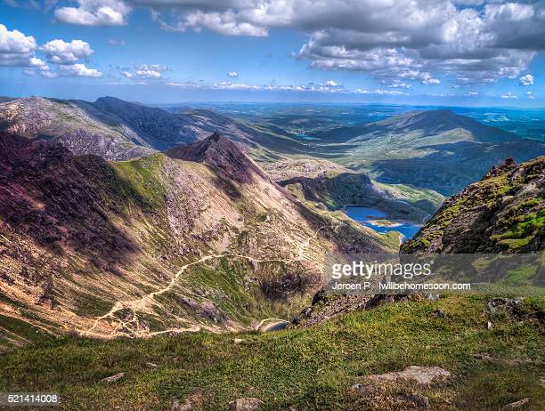 view from mount snowdon - mount snowdon stock photos and pictures