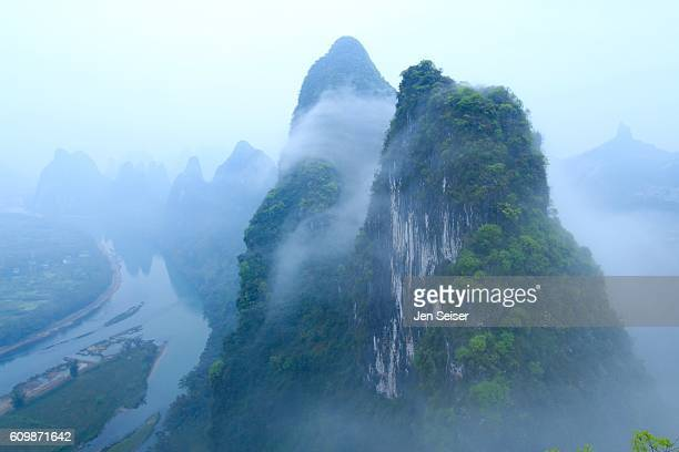 View from Mountaintop Over China Mountains and Li River
