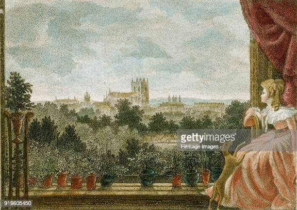 View from Mrs Cosway's breakfast room at Schomberg House 8082 Pall Mall London 1789 View looking towards Westminster Abbey with Mrs Cosway seated in...